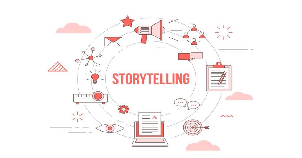 Concepto de storytelling representado con iconos