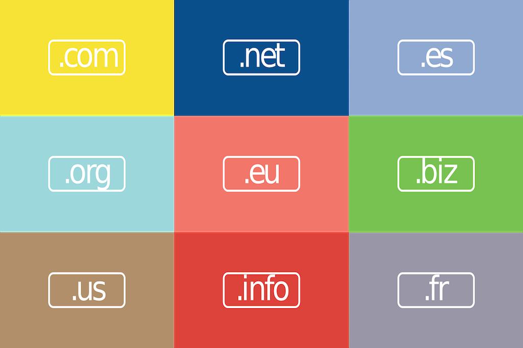 En la imagen aparece una cuadrícula con 9 recuadros de colores y dentro de cada uno un dominio web