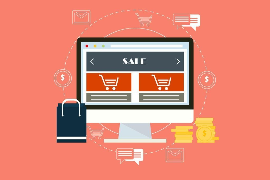 ilustración de una pantalla de ordenador mostrando un producto de una tienda online
