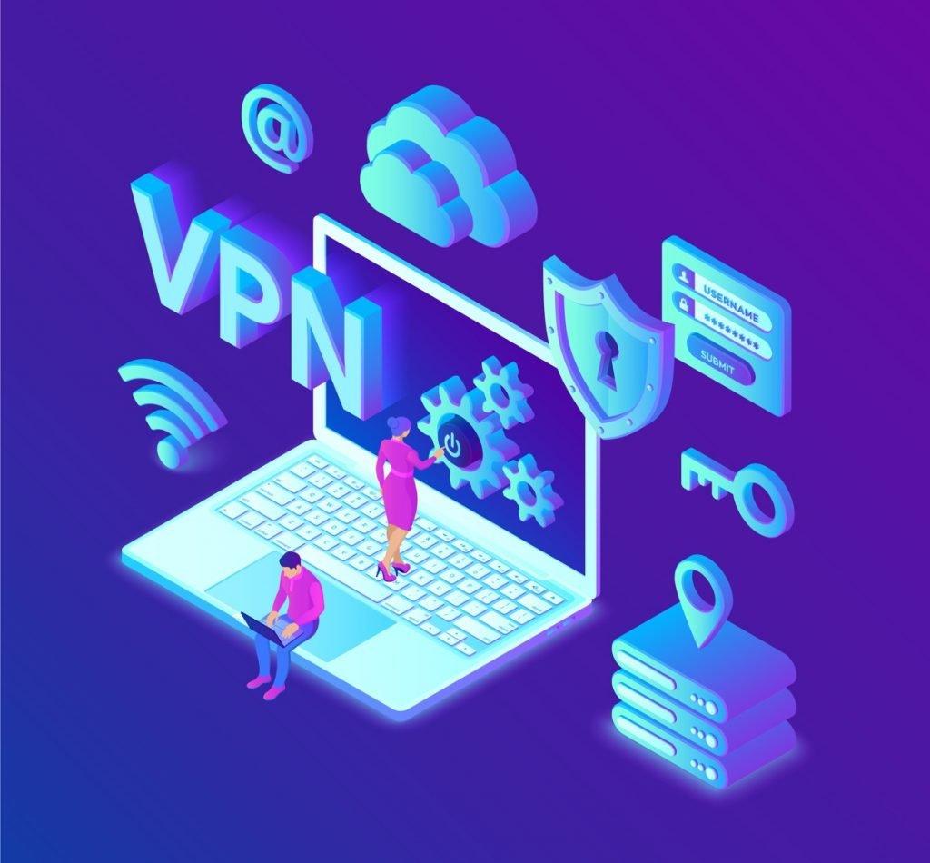 ilustración sobre VPN con ordenador portatil y símbolos de conectividad y seguridad online
