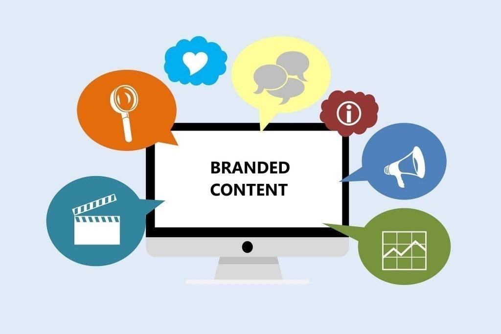 Ilustración de una pantalla de ordenador en la que se puede leer Branded Content
