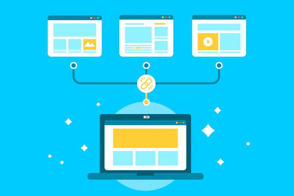 ilustración de una pantalla de ordenador con una web enlazando a otras tres