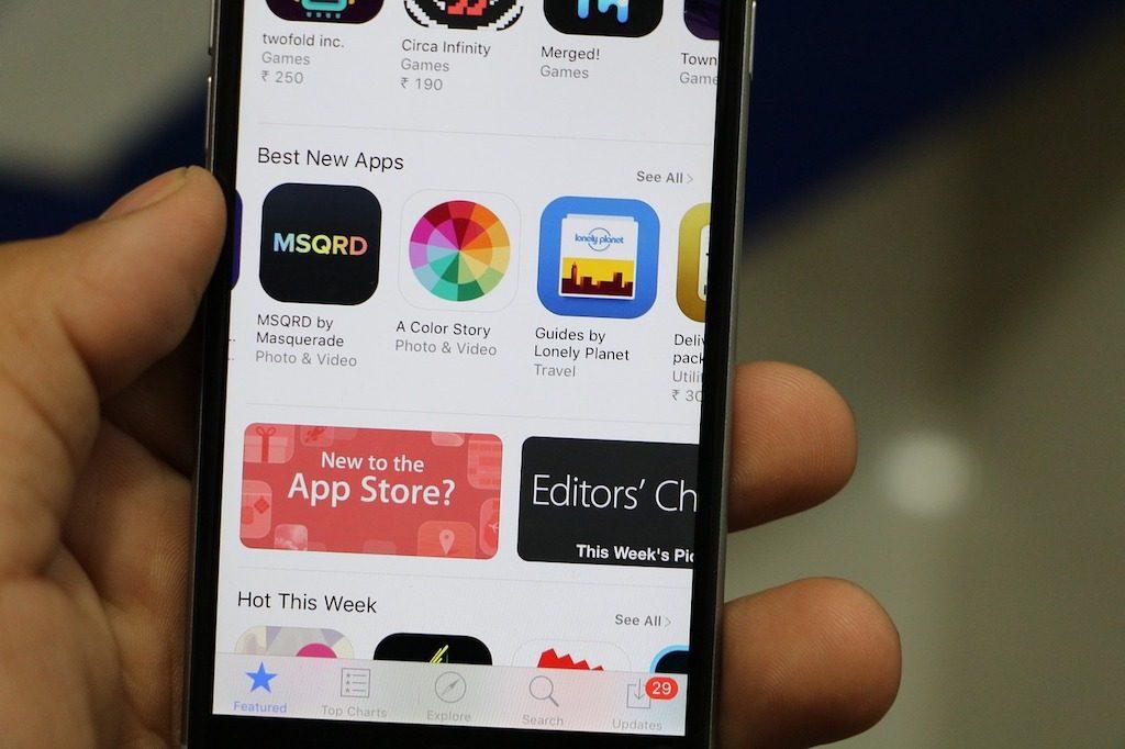 teléfono móvil con app store