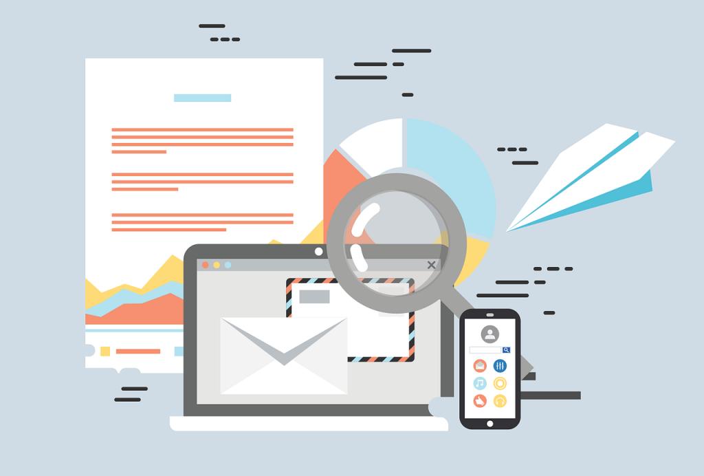 ilustración donde se ven varios dispositivos conectados por emails