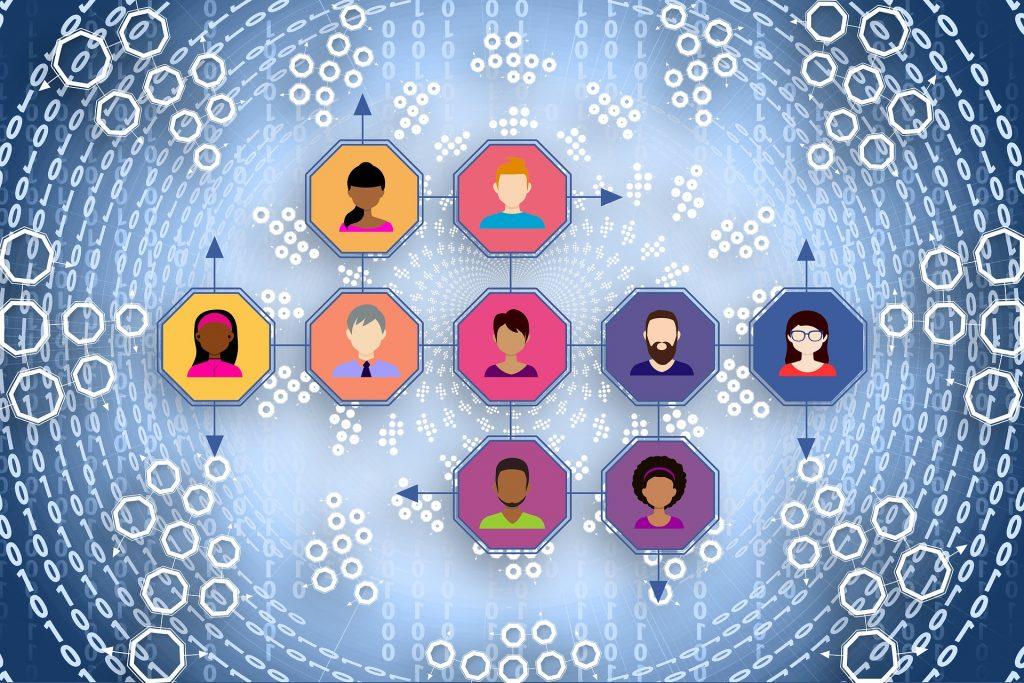 ilustración de circulos interconectados con personas dentro