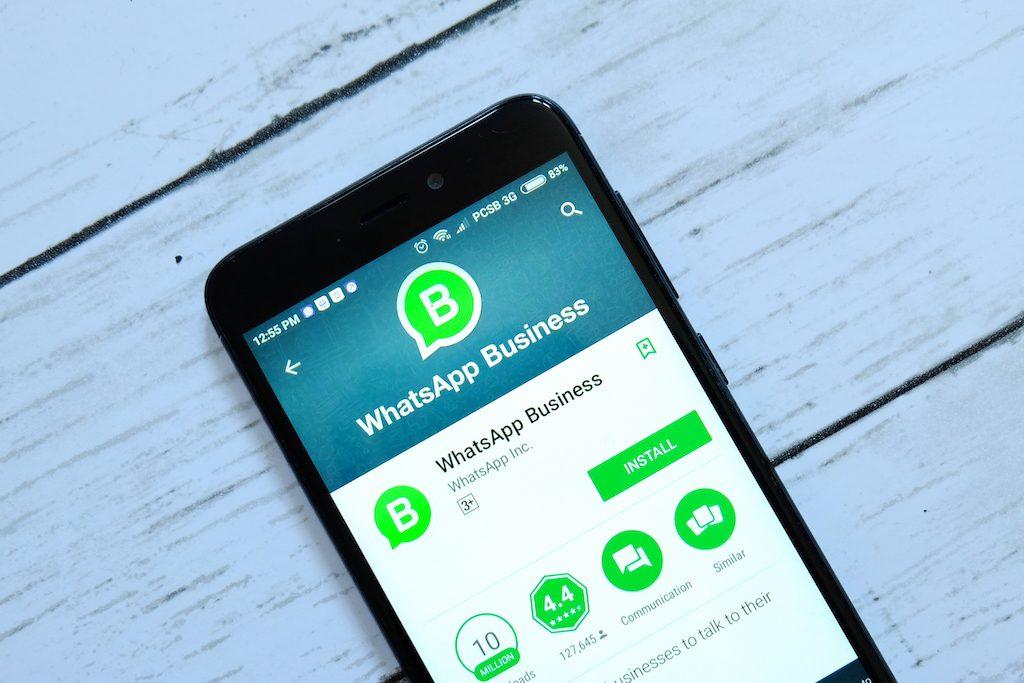 teléfono móvil con la imagen de WhatsApp business