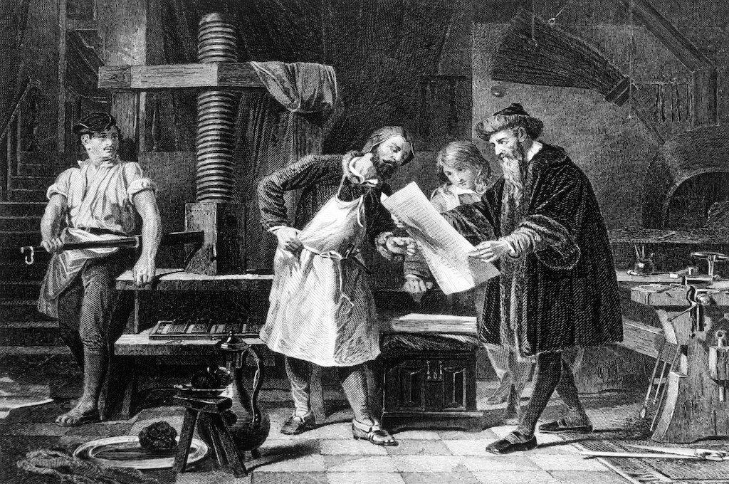 ilustración de Johannes Gutenberg